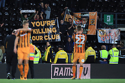 Hull City supports show their displeasure of the clubs ownership from the stands