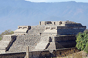 The top portion of the ruined temple complex called 'Building IV' at Monte Alban, Oaxaca, Mexico.