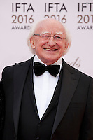 The President of Ireland, Michael D Higgins at the IFTA Film & Drama Awards (The Irish Film & Television Academy) at the Mansion House in Dublin, Ireland, Saturday 9th April 2016. Photographer: Doreen Kennedy