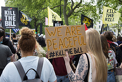 Activists from civil liberties groups take part in a Kill The Bill National Day of Action in protest against the Police, Crime, Sentencing and Courts (PCSC) Bill 2021 on 29th May 2021 in London, United Kingdom. The PCSC Bill would grant the police a range of new discretionary powers to shut down protests, including the ability to impose conditions on any protest deemed to be disruptive to the local community, wider stop and search powers and sentences of up to 10 years in prison for damaging memorials.