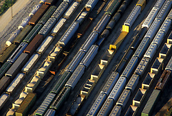 Aerial of Railcars in Railyard