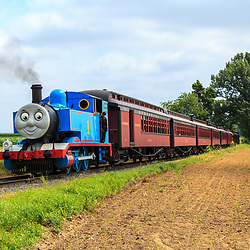 Strasburg, PA, USA, June 17, 2012: Thomas the Tank Engine on the tracks near Strasburg, PA.