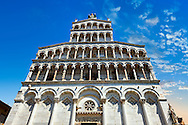 13th century facade of the San Michele in Foro is a Roman Catholic basilica church in Lucca, Tunscany, Italy .<br /> <br /> Visit our ITALY PHOTO COLLECTION for more   photos of Italy to download or buy as prints https://funkystock.photoshelter.com/gallery-collection/2b-Pictures-Images-of-Italy-Photos-of-Italian-Historic-Landmark-Sites/C0000qxA2zGFjd_k<br /> <br /> If you prefer to buy from our ALAMY PHOTO LIBRARY  Collection visit : https://www.alamy.com/portfolio/paul-williams-funkystock/lucca.html .