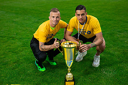 Alen Krcic and Mitja Krizan during celebration of NK Bravo, winning team in 2nd Slovenian Football League in season 2018/19 after they qualified to Prva Liga, on May 26th, 2019, in Stadium ZAK, Ljubljana, Slovenia. Photo by Vid Ponikvar / Sportida
