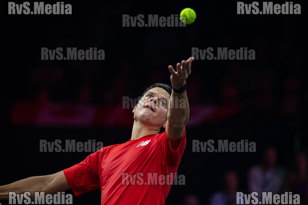 GENEVA, SWITZERLAND - SEPTEMBER 21: Milos Raonic of Team World serves during Day 2 of the Laver Cup 2019 at Palexpo on September 21, 2019 in Geneva, Switzerland. The Laver Cup will see six players from the rest of the World competing against their counterparts from Europe. Team World is captained by John McEnroe and Team Europe is captained by Bjorn Borg. The tournament runs from September 20-22. (Photo by Monika Majer/RvS.Media)