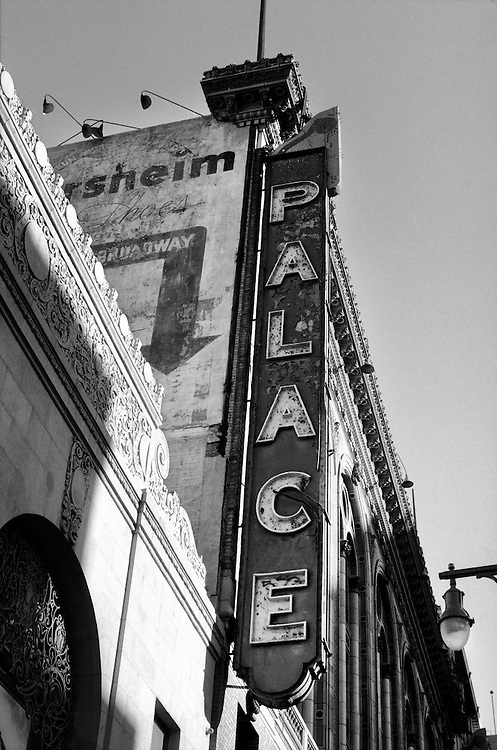 Palace Theatre Sign on Broadway in Downtown Los Angeles, CA. (USA)<br /> Camera: Leica R8 / Lens: 135mm f/2.8 Elmarit-R / Film: Illford HP5 400