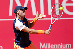 May 2, 2017 - Estoril, Portugal - Bjorn Fratangelo of US returns a ball to Joao Sousa of Portugal during the Millennium Estoril Open 1st round tennis tournament in Estoril, outskirts  of Lisbon, Portugal on May 2, 2017. (Credit Image: © Pedro Fiuza/NurPhoto via ZUMA Press)