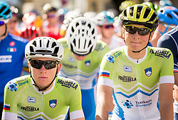 Tadej Pogacar and Jaka Primozic of Slovenia during the Men Under 23 Road Race 179.9km Race from Kufstein to Innsbruck 582m at the 91st UCI Road World Championships 2018 / RR / RWC / on September 28, 2018 in Innsbruck, Austria.  Photo by Vid Ponikvar / Sportida