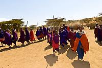 Maasai tribal greeting, Manyatta village, Ngorongoro Conservation Area, Tanzania