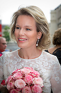 25-5-2016 BRUSSELS - Queen Maxima attends at the invitation of Her Majesty Queen Mathilde of Belgium Wednesday May 25 one of the final nights of the Queen Elisabeth Piano Competition in 2016 at the Centre for Fine Arts in Brussels. copyright Robin Utrecht<br /> 25-5-2016 BRUSSEL - Koningin Maxima woont op uitnodiging van Hare Majesteit Koningin Mathilde van België woensdagavond 25 mei één van de finaleavonden van de Koningin Elisabethwedstrijd voor piano 2016 bij in het Paleis voor de Schone Kunsten in Brussel. copyright robin utrecht