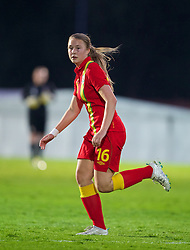 NEWPORT, WALES - Tuesday, August 27, 2013: Wales' Sarah Saunders in action against Finland during an international friendly at Dragon Park. (Pic by Kieran McManus/Propaganda)