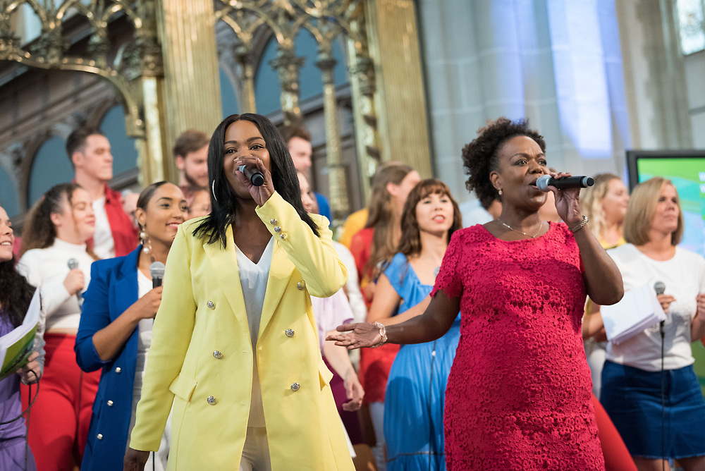 23 August 2018, Amsterdam, Netherlands: The Soundwise Gospel Choir. Hundreds of people gather from across the world for an ecumenical prayer service at the Nieuwe Kerk, a 15th-century church in Amsterdam, to celebrate the 70th anniversary of the World Council of Churches at the very spot in which the organization was founded. Under the theme ìWalking, Praying and Working Together,î pilgrims from all over the world attend the service.