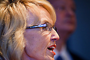 09 MAY 2011 - PHOENIX, AZ: JAN BREWER, the Republican Governor of Arizona, during a press conference at the Arizona State Capitol in Phoenix Monday. Governor Jan Brewer, State Senate President Russell Pearce and Attorney General Tom Horne, all Republicans, held one press conference to announce that the state was suing to take its legal battle over SB1070, Arizona's tough anti-immigration law, past the US Court of Appeals and straight to the US Supreme Court. State Senator Steve Gallardo, a Democrat, held a press conference to announce that he was opposed to the Republican's legal actions and called on them to drop the suit altogether. Isolated shouting matches broke out between activists on both sides of the immigration issue during the press conferences.       Photo by Jack Kurtz
