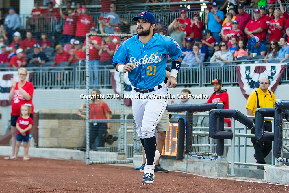 Amarillo Sod Poodles catcher Luis Torrens (21) against the Tulsa Drillers during the Texas League Championship on Tuesday, Sept. 10, 2019, at HODGETOWN in Amarillo, Texas. [Photo by John Moore/Amarillo Sod Poodles]