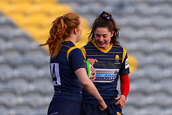 Robyn Wilkins of Worcester Warriors Women congratulates Paige Farries on her try - Mandatory by-line: Nick Browning/JMP - 09/01/2021 - RUGBY - Sixways Stadium - Worcester, England - Worcester Warriors Women v DMP Durham Sharks - Allianz Premier 15s
