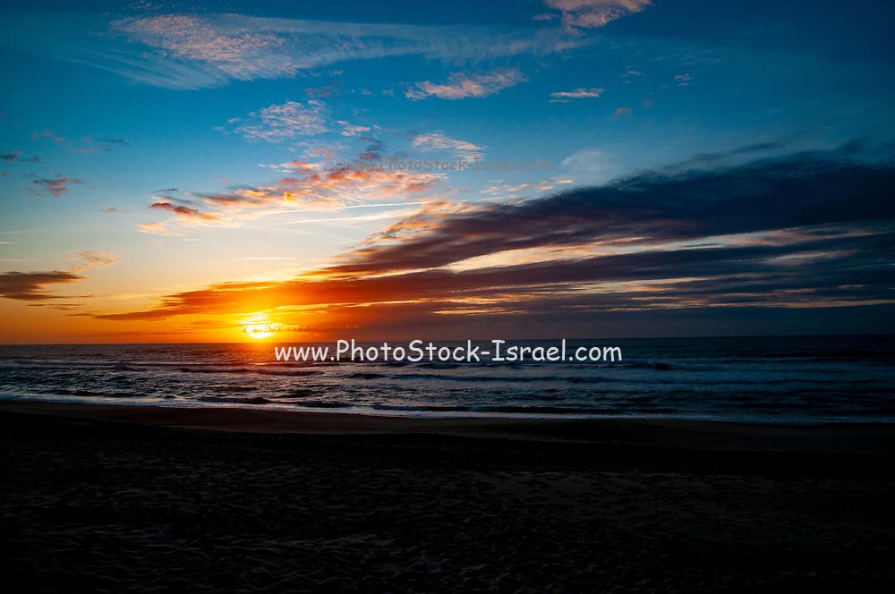 Atlantic Ocean Sunset. At Vieira de Leiria. A Portuguese village and also a parish in the municipality of Marinha Grande, Portugal