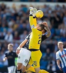 Falkirk's Lee Miller in on keeper MacDonald. Kilmarnock 4 v 0 Falkirk, second leg of the Scottish Premiership play-off final.