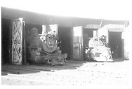 D&RGW #497 and #484 partially out of their Durango roundhouse stalls.<br /> D&RGW  Durango, CO