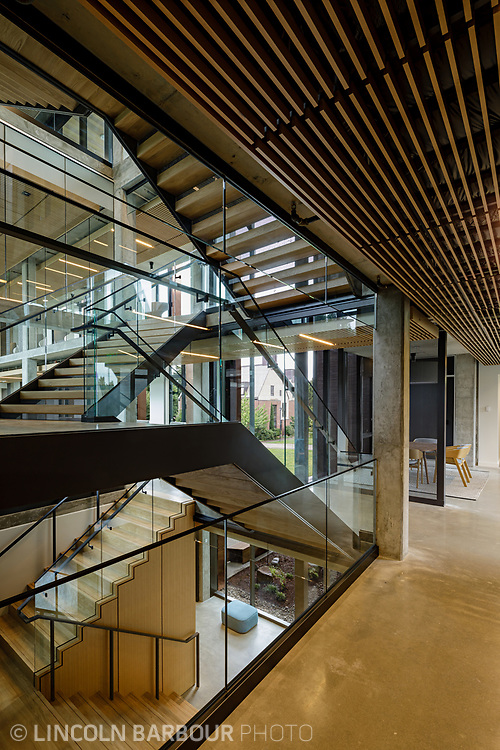 A graphic view of a stairwell inside of the Trillium Residence Hall at Reed College in Portland, Oregon.