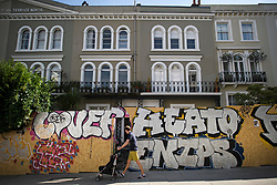 © Licensed to London News Pictures. 23/08/2019. London, UK. A residential property boarded up as preparations begin in Notting Hill, West London ahead of the 2018 Notting Hill Carnival which starts this weekend. Warm weather is expected over the bank holiday weekend with carnival attracting over 1 million people to the capital. Photo credit: Ben Cawthra/LNP