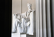 Dramatic light on the statue of Abraham Lincoln in the Lincoln Memorial, Washington, D.C.