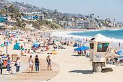Crowded Main Beach During Summer