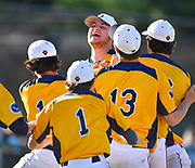 OFallon starting pitcher Mike Larson is surrounded by teammates as they begin to dogpile after they defeated Edwardsville in a baseball sectional playoff game at Edwardsville High School in Edwardsville, IL on Wednesday June 9, 2021. <br /> Tim Vizer/Special to STLhighschoolsports.com.