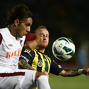 S.B. Elazigspor's and Fenerbahce's players in action with ball during their Turkish superleague soccer match S.B. Elazigspor between Fenerbahce at the Ataturk stadium in izmir Turkey on Saturday 18 August 2012. Photo by TURKPIX