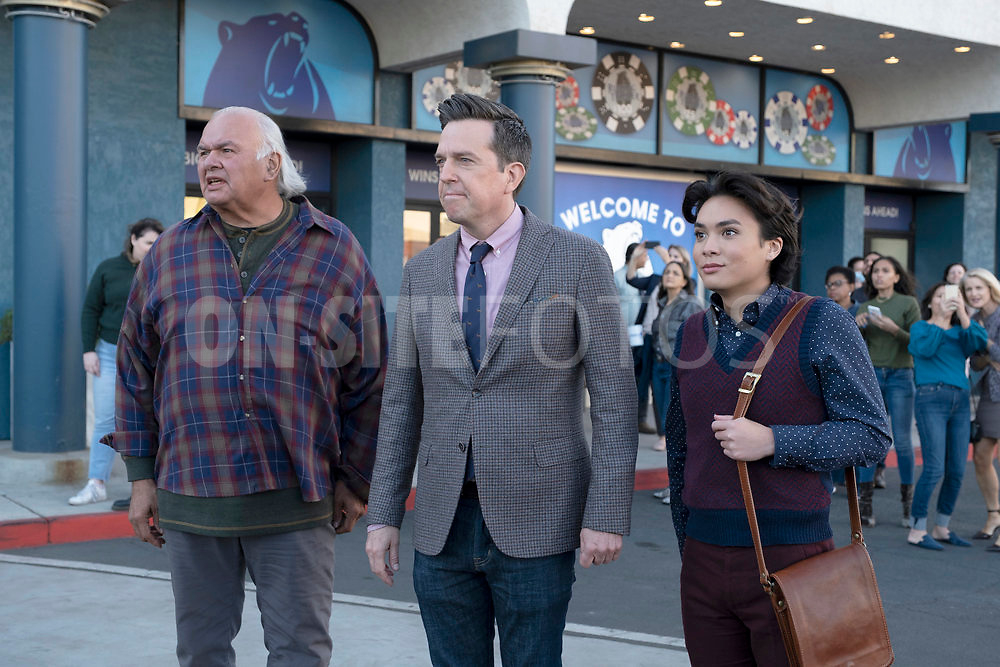 """RUTHERFORD FALLS -- """"Rutherford Inc."""" Episode 107 -- Pictured: (l-r) Ed Helms as Nathan Rutherford, Jesse Leigh as Bobbie Yang -- (Photo by: Colleen Hayes/Peacock)"""