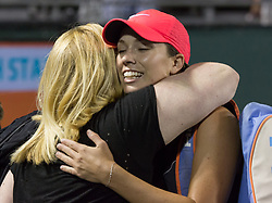 March 26, 2018 - Miami, Florida, United States - Danielle Collins, from the USA, celabrating with her team after defeating Monica Puig, from Puerto Rico 3-6, 6-4, 6-2 at the Miami Open in Key Biscayne in Key Biscayne, on March 26, 2018. (Credit Image: © Manuel Mazzanti/NurPhoto via ZUMA Press)