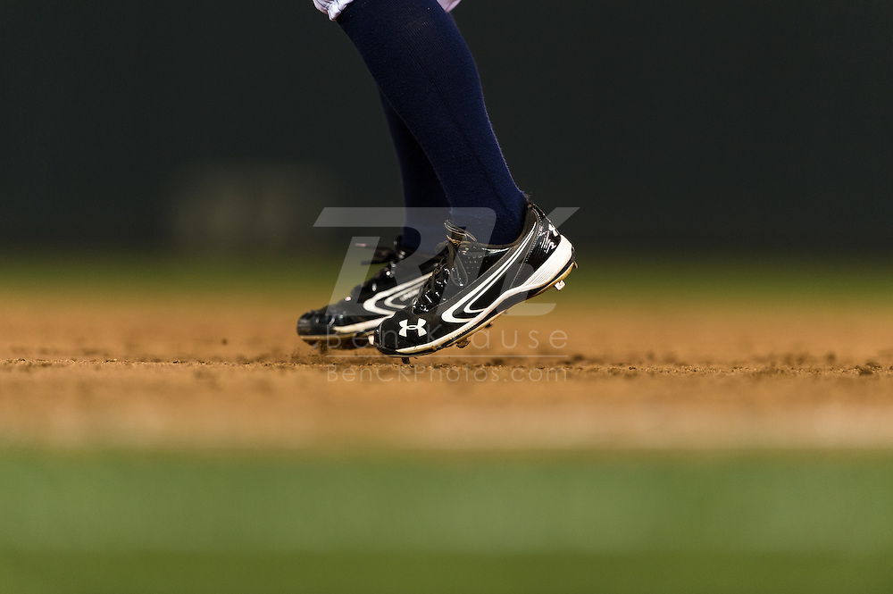 A close up view of the cleats of Minnesota Twins Brian Dozier as he takes a lead off 1st base during a game against the Tampa Bay Rays on August 10, 2012 at Target Field in Minneapolis, Minnesota.  The Rays defeated the Twins 12 to 6.  Photo: Ben Krause