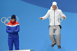 February 14, 2018 - Pyeongchang, South Korea - ALEXANDER BOLSHUNOV of Russia celebrates getting the bronze medal in the Men's Sprint Classic cross country skiing event in the PyeongChang Olympic games. (Credit Image: © Christopher Levy via ZUMA Wire)