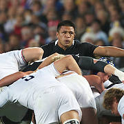 Keven Mealamu, New Zealand, in action during the New Zealand V France, Pool A match during the IRB Rugby World Cup tournament. Eden Park, Auckland, New Zealand, 24th September 2011. Photo Tim Clayton...
