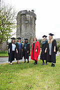 """18/04/2017 REPRO FREE:  <br /> Post BAC Graduate  Charlotte Lavelle, MFA Graduates Sherry Erskine and  Joan Nanfuka PHD Elizabeth Matthews,  MA graduate Angel Cray and Post BAC Graduate Morgan Whitehead,  who graduated from at the 13th conferring ceremony, held in the Minstrels gallery the 16th century Newtown Castle at the heart of the BCA campus, exemplifies the continued success of the Burren's  alternative model of art education . The Irish and  international graduates included Elizabeth Matthews, conferred with  a PhD for her research on Utopian studies , and six international graduates whose work on display in the BCA gallery addressed the ultimate question, """"who am I called to be"""" In her address President of the college Mary Hawkes Greene referred to the unique place based educational  model  committed to  individual student centred  education accredited by NUIGalway , and how it effectively  embraces the often conflicting forces of the global and the local, the public and the private as well as the collective and the individual. <br /> .  Photo:Andrew Downes, xposure"""