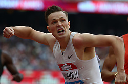 July 21, 2018 - London, United Kingdom - Karsten Warholm of Norway celebrates his win with National and Meeting Record in the 400m Men during the Muller Anniversary Games IAAF Diamond League Day One at The London Stadium on July 21, 2018 in London, England. (Credit Image: © Action Foto Sport/NurPhoto via ZUMA Press)