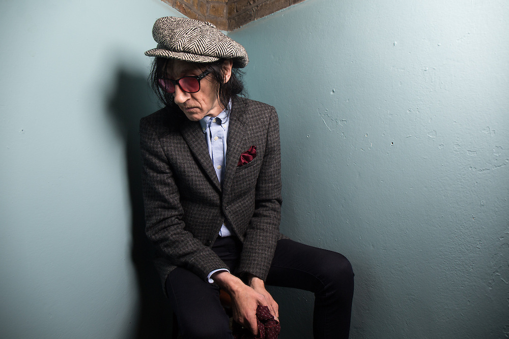 Punk poet John Cooper Clarke at A Child of Jago store opening on Charing Cross Road in London on Thursday 16th October 2014<br /> Photos by Ki Price