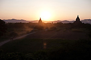 View of temples at sunset. Bagan is one of the biggest tourist atractions in Myanmar because of its more than two thousand temples, in Burma.<br /> Note: These images are not distributed or sold in Portugal