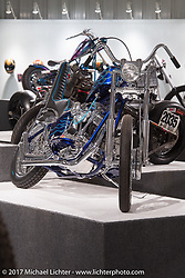 Steve Dietzman's rigid frame Harley-Davidson Shovelhead chopper in the Old Iron - Young Blood exhibition in the Motorcycles as Art gallery at the Buffalo Chip during the annual Sturgis Black Hills Motorcycle Rally. Sturgis, SD, USA. Wednesday August 9, 2017. Photography ©2017 Michael Lichter.