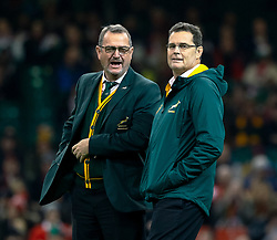 Head Coach Rassie Erasmus of South Africa during the pre match warm up<br /> <br /> Photographer Simon King/Replay Images<br /> <br /> Under Armour Series - Wales v South Africa - Saturday 24th November 2018 - Principality Stadium - Cardiff<br /> <br /> World Copyright © Replay Images . All rights reserved. info@replayimages.co.uk - http://replayimages.co.uk