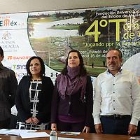 """Toluca, México.- ,durante conferencia de prensa, donde anunciaron el Cuarto Torneo de Golf """"Jugando por la Educación"""", evento organizado por la Fundación UAEMEX. Agencia MVT / Arturo Hernández."""
