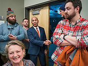 18 NOVEMBER 2019 - DES MOINES, IOWA: Former Governor DEVAL PATRICK (D-MA) walks into the Polk County Democrats' meeting in Des Moines Monday night. Gov. Patrick made his first campaign trip to Iowa Monday after announcing his candidacy to be the Democratic nominee for the US Presidency. His stops included a meeting of the Polk County Democrats in Des Moines. Iowa hosts the first presidential selection event of the 2020 presidential election cycle. The Iowa Caucuses are Feb. 3, 2020.           PHOTO BY JACK KURTZ