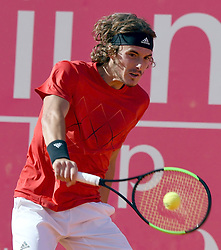 LISBON, May 4, 2018  Greece's Stefanos Tsitsipas returns the ball during second round match of Estoril Open Tennis tournament against Kevin Anderson in Cascais, near Lisbon, Portugal, May 3, 2018. (Credit Image: © Zhang Liyun/Xinhua via ZUMA Wire)