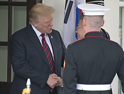 United States President Donald J. Trump welcomes President Moon Jae-in of South Korea for talks at the White House in Washington, DC, USA on Tuesday, May 22, 2018. The two leaders are meeting ahead of President Trump's scheduled summit with Kim Jung-un of North Korea which is tentatively scheduled for June 12, 2018 in Singapore. Photo by Ron Sachs/CNP/ABACAPRESS.COM