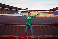 """FC Thun soccer goalkeeper David DA COSTA of Switzerland is posing for a photo in the """"Suedkurve"""" sector (sector of home team FC Zuerich's hard core fans) at the Letzigrund stadium in Zurich, Switzerland, Tuesday, March 22, 2011. Da Costa played for FC Zuerich from 1992 to 2008 and watched many games form the """"Suedkurve"""" sector. (Photo by Patrick B. Kraemer / MAGICPBK)"""