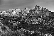 Jagged, saw tooth peaks in very early morning light at Zion National Park, Utah, USA
