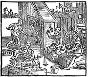 Coiners at work: Interior of a mint showing coins being stamped out and weighed to see they contain correct amount of metal.  From Ralph Holinshead 'Chronicles of England, Scotlande and Irelande' 1577. Debasement of coinage by clipping was a problem until the introduction of coins with milled (patterned) edges in late 17th/ early 18th century. Woodcut .