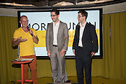 STEVE HILTON; SCOTT  BADE; JASON BADE Launch of ' More Human',  Designing a World Where People Come First' by Steve Hilton. Party held at Second Home in Princelet St, off Brick Lane, London. 19 May 2015.