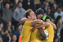 October 22, 2016 - Auckland, Auckland, New Zealand - Reece Hodge of Australia Wallabies is congratulated by team mate Dane Haylett-Petty after scoring a try during the  Third Bledisloe Cup test match against New Zealand All Blacks. All Blacks defeats Wallabies 37-10. (Credit Image: © Shirley Kwok/Pacific Press via ZUMA Wire)