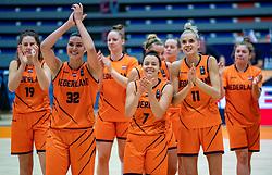 Dutch basketball team with Rowie Jongeling, Chatilla Van Grinsven, Karin Kuijt, Jill Bettonvil celebrate after the match against Hungary during a European Championship qualifier.