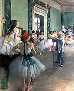 The Dance Class', 1874. Ballet dancers in tutus being  tutored  by the ballet master with his stick.  Edgar Degas (1834-1917). French Impressionist painter.